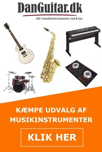 udvalg af musikinstrumenter